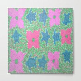 Turtles and Flowers Tropical Pattern Metal Print