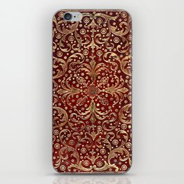 Golden Swirled Red Book Cover iPhone Skin