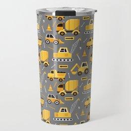 Construction Trucks on Gray Travel Mug