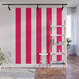Folly fuchsia - solid color - white vertical lines pattern Wall Mural