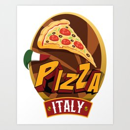 Pizza Italy / Support Pizza / Foodietoon Art Print