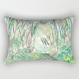 Bamboo Cathedral Sketch - San Marino CA Rectangular Pillow