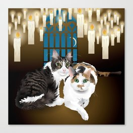 tonks and lupin cats Canvas Print