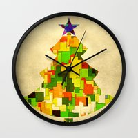 christmas tree Wall Clocks featuring Christmas tree by SensualPatterns