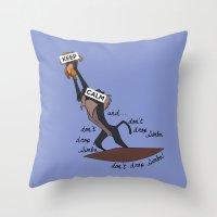 simba Throw Pillows featuring Keep Calm: Simba by NomadicArt