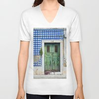 portugal V-neck T-shirts featuring DOOR, LISBON, PORTUGAL by Sébastien BOUVIER