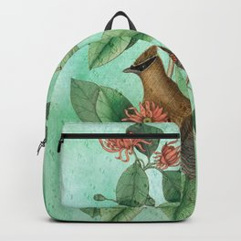 Bohemian Waxwing with Carolina Allspice, Antique Natural History Collage Backpack
