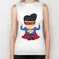 superhero Biker Tanks featuring Superhero by Inkley