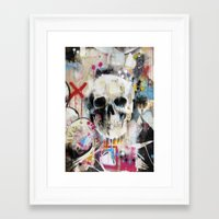 skull Framed Art Prints featuring Skull by FAMOUS WHEN DEAD