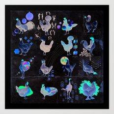 Defenseless Chickens Art Print