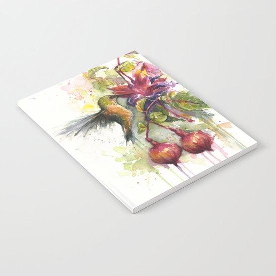 Hummingbird and Fuchsia Watercolor Notebook