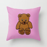 teddy bear Throw Pillows featuring Teddy Bear by ArtSchool