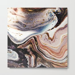 Beautiful abstract ink art with marbling technique Metal Print