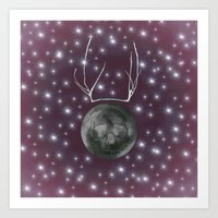 dark side of the moon Art Prints featuring Dark Side of the Moon by Helle Gade