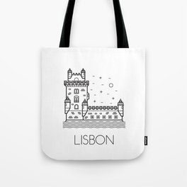 Belém Tower Lisbon Portugal Black and White Tote Bag