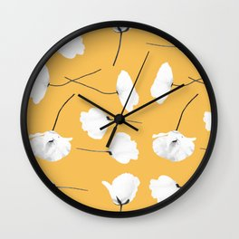 Poppies on mustard Wall Clock