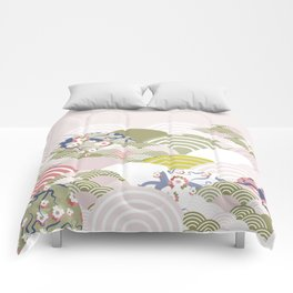 scales simple Nature background with japanese sakura flower, rosy pink Cherry, wave circle pattern Comforters