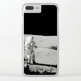 Apollo 14 - Black & White Moon Work Clear iPhone Case