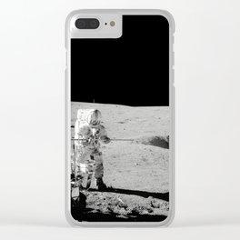 Apollo 14 - Black & White Moon Work Clear iPhone Case
