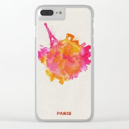 Paris, France Colorful Skyround / Skyline Watercolor Painting Clear iPhone Case