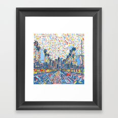 los angeles city skyline Framed Art Print