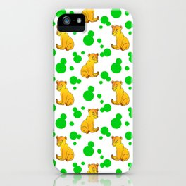Little bears. Cute adorable funny baby bear cubs bold green retro dots white seamless pattern iPhone Case