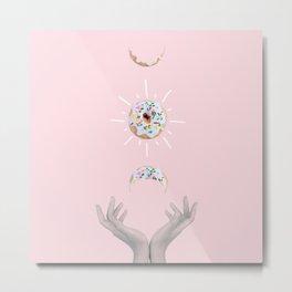 Hands with bitten donut Metal Print