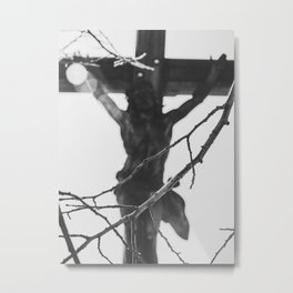 Passion of Jesus, Black and White, Christ Crucified, Catholic Art  Metal Print