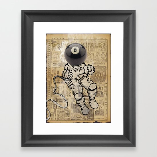 8 ball astronaut Framed Art Print