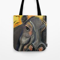 hippo Tote Bags featuring Hippo by Amy Wicherski