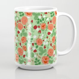 Roses and strawberries on green Coffee Mug
