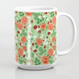 Roses and strawberries on green Coffee Mug