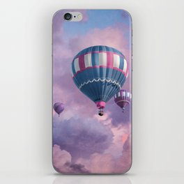 Blue, Pink, and Purple Hot Air Balloons on Pastel Clouds iPhone Skin
