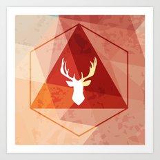 Deer poly Art Print