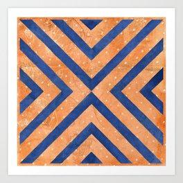 Chambray Blue & Hit Pink Geometry Vector Pattern Art Print