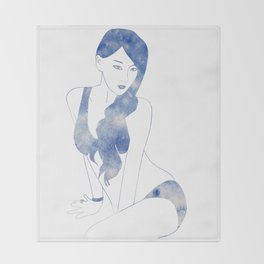 Leto Blue Throw Blanket