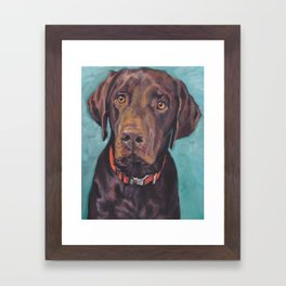 Chocolate lab LABRADOR RETRIEVER dog portrait painting by L.A.Shepard fine art Framed Art Print