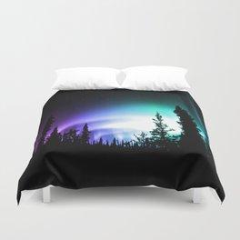 Aurora Borealis Forest Duvet Cover