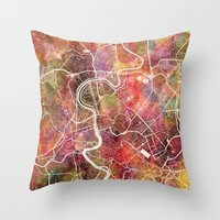 rome Throw Pillows featuring Rome by MapMapMaps.Watercolors