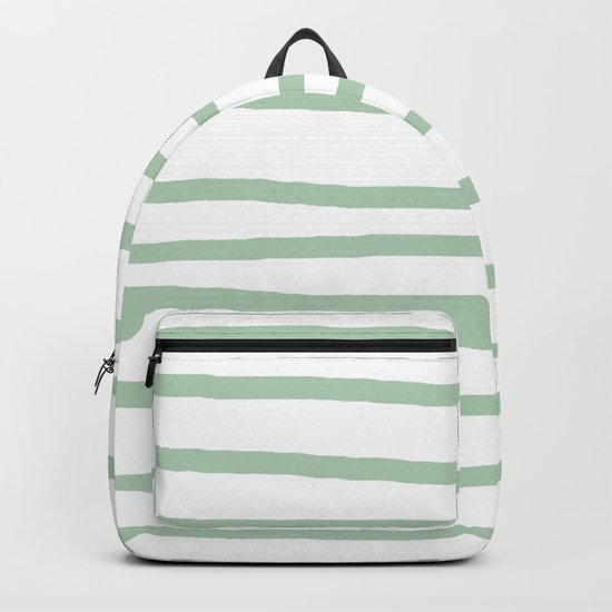 Simply Drawn Stripes Pastel Cactus Green and White Backpack