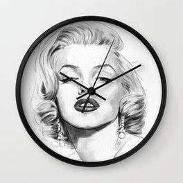 Marilyn Watercolor Portrait Wall Clock