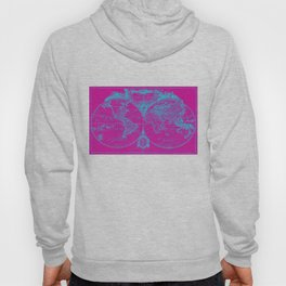 World Map (1775) Pink & Blue Hoody