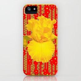 Red & Yellow Art Deco Style Iris Pattern iPhone Case