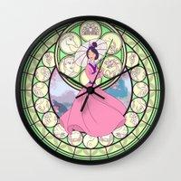 mulan Wall Clocks featuring Mulan by NicoleGrahamART