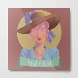 Hat Girl - Candy Color Metal Print