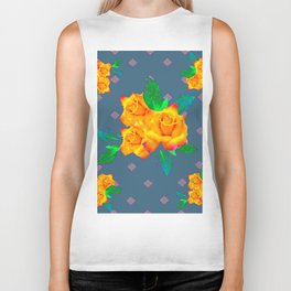 Teal Color Golden Roses Bouquet Patterns Biker Tank
