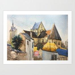 Normandy, France: Saint Nicolas Church in fall Art Print