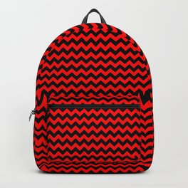 Red Devil and Black Halloween Chevron Zigzag Stripes Backpack