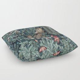 William Morris Forest Fox Greenery apestry Floor Pillow
