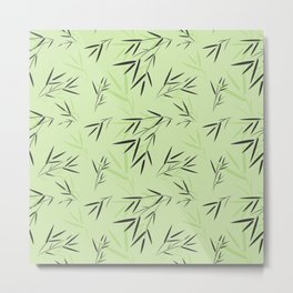 Bamboo leaves seamless pattern Metal Print